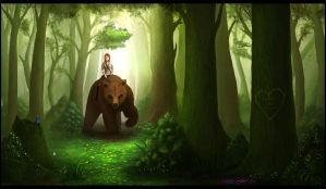Commission: Girl on Bear by artificialdesign