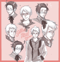 -APH: Gilbo and Rod sketches- by freddiegirl