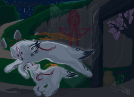Okami--Mother and Son by Zarin-Arovail