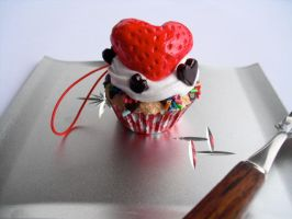 Strawberry Heart Cupcake Strap by kawaiifriendscafe