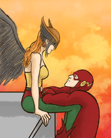 HawkgirlxFlash by Art-Gem