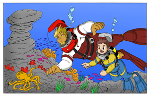Coop, Junpei, and a Creature - Color Commission by The-Sakura-Samurai