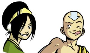 Warm-up Drawing: Toph and Aang by Tallychyck