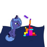 Luna with Building Blocks by Sopada