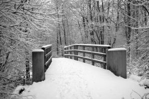 Bridge over frozen river BW by steppeland