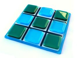 Fused Glass Tic Tac Toe Board by salvagedsword