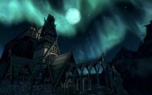 Dragonsreach at night by TheSpiritOfTheWoods