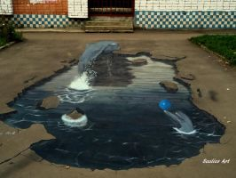 3D street art: Dolphins (Russia) + video by Saules-dievas