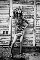 Posing in front of my house BW by AD-Photography