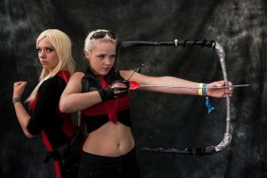 Female Deadpool and Hawkguy Cosplay by Drawbella