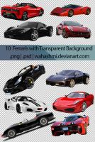 10 Ferraris with transparent background |PSD |PNG by wahashmi