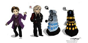 Daleks and a Timelord by DalekMercy
