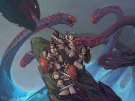 Amazons vs. Hydra color sketch by alexichabane