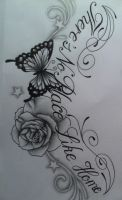 Flower and butterfly tattoo design by tattoosuzette