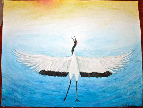 White Crane Spreads its Wings by Prader