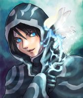 MTG FA: Jace with Cloud Sprite by tomo-sanagi