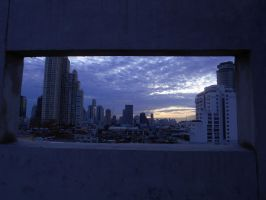 City in a box at dawn by Flo996