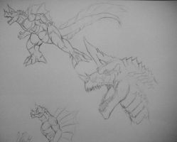 kaigora quick sketch conceptual by The-KaijuEnthusiast