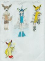 Eevee and Evolutions by stopthinkmove