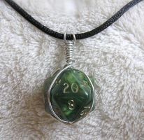 Green d20 Pendant by lavadragon