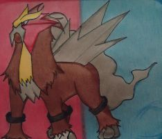 Entei with background by Asparticus