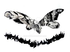 Mothra in Sumi-e by KnappInk