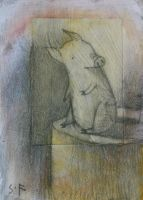 Pig on Stump-ACEO by SethFitts