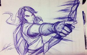 Link Action Sketch by TixieLix