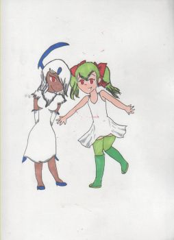 Absol and Kirlia Gijinkas by FilthyRaccoon