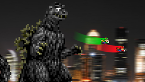 AT - Ghost Godzilla Chases Mario Bros by KingAsylus91