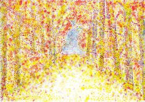Fall Alley (Impressionism/Pointillism) by ManaLookie