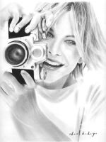 Meg Ryan Pencil Portrait by Bobby-Sandhu