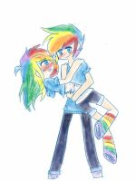 rainbow dash and blitz by Hexeana