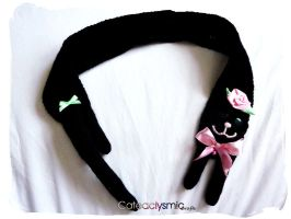 Black Kitty Scarf with Pink Rose by Cateaclysmic