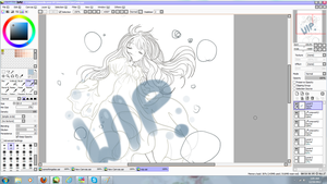 Floating Girl WIP by Leafei