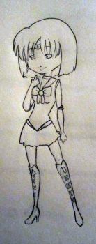 Sailor Saturn Uncolored by DecadentDesigner68