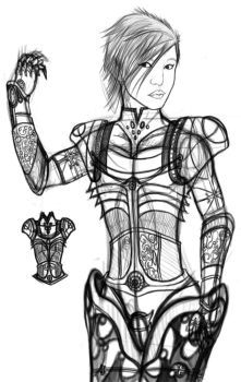 A Drawing of myself in Armor I by ArtGod2015
