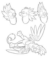 Goofy Gryphon Sketches by secoh2000