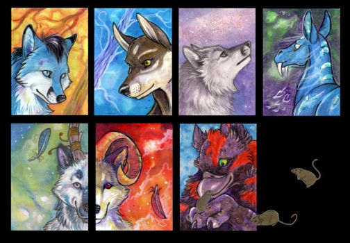 ACEO Cards: Portraits 1 by MoonsongWolf