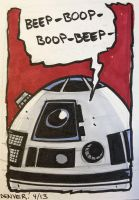 R2-D2 sketchcard by thecheckeredman