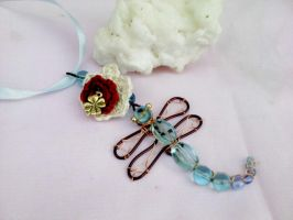 Copper wire dragonfly with flower by Mirtus63