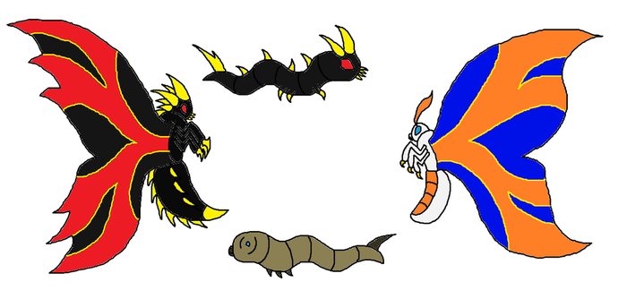 World Of Titans Mothra and Battra by Sci-fiman2xxx
