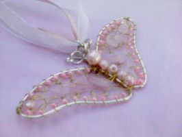 Butterfly rose quartz with silver wire by Mirtus63