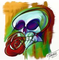 Skull and a flower by Tomyslav