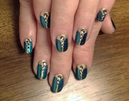 20150131 - Teal + Gold Scarab Design w.Rhinestones by m-everhamnails