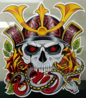 samurai skull by GrizzlyGreenEyes