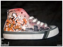 graffiti painted shoes right by whyehate