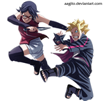 Sarada and Boruto by aagito