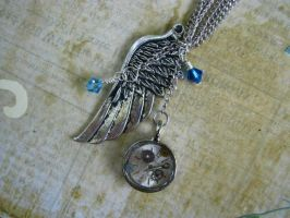 Steampunk Necklace Wing Pendant with Resin and Wat by bcainspirations