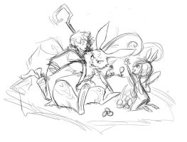 Progress shot - Bunnymund, Jack and Sofie by Neverjay